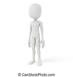 3d man posing in neutral position on white background