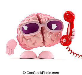 3d Brain answers the phone - 3d render of a brain holding a...