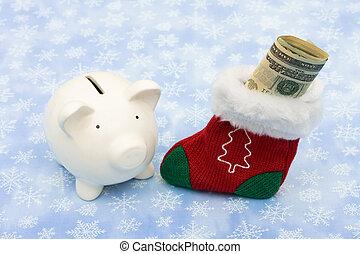 Christmas Savings - A piggy bank with a Christmas stocking...