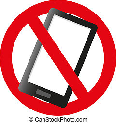 No cell phone sign illustration design isolated over a white...