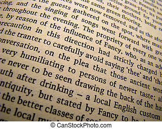 Background of a page in an old book - Close up of a page of...