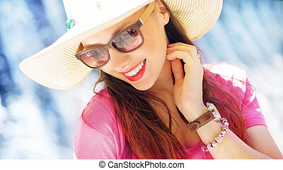 Gorgeous businesswoman on the vacation - Gorgeous young...