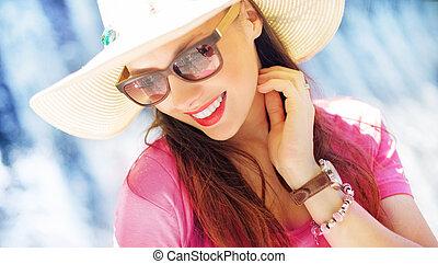 magnífico, mujer de negocios, vacaciones