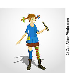 Pippi longstocking 01 - Illustration of Pippi Longstocking...