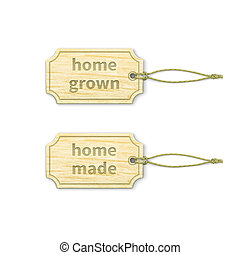 Home-made tags set 13 - Set of wooden tags with home-made...
