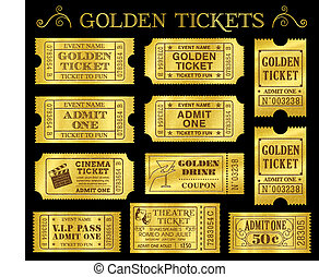 Golden Vector Ticket Templates - Set of eleven golden vector...