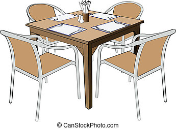 Dinner Table With Chairs Clip Art