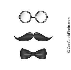 Vintage symbolic of a man face, glasses, mustache and bow-tie, i