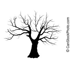 Sketch of dead tree without leaves , isolated on white...