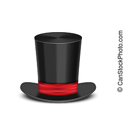 Magic cylinder hat with shadow, isolated on white background...