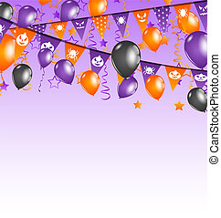 Halloween background with hanging flags and balloons