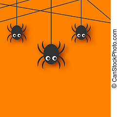 Cute funny spiders and cobweb - Illustration cute funny...