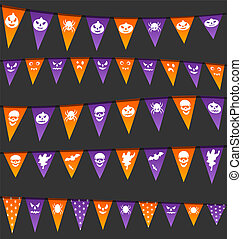 Halloween hanging flags with different symbols