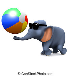 3d Elephant plays with a beach ball - 3d render of an...