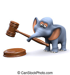 3d Elephant using an auctioneers gavel - 3d render of an...