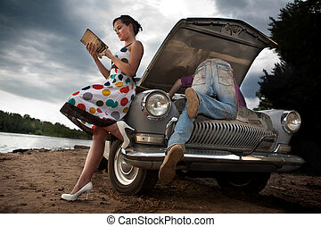 Road disaster - Pretty couple is trying to repair their old...
