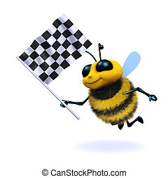 3d Honey bee waves the checkered flag - 3d render of a bee...