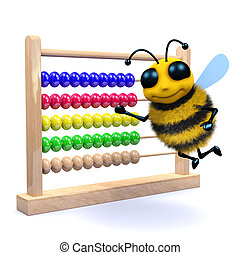 3d Honey bee counts on an abacus - 3d render of a bee with...