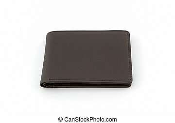 Brown leather wallet . - Brown leather wallet on white...