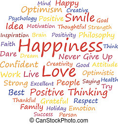 Happiness word cloud concept, a vector illustration