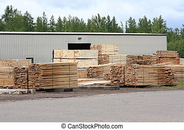 Lumber stacks - Stacks of lumber at a yard ready to ship