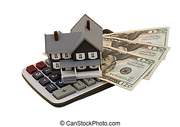 Housing Costs - A model house with twenty dollar bills and...
