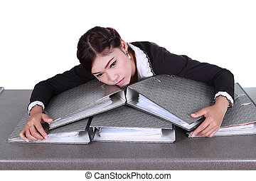 business woman worried with folder documents on desk...