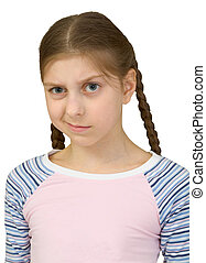 Skeptical teenager girl on the white background