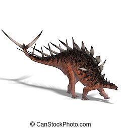 giant kentrosaurus dinosaur 3D render with clipping path and...
