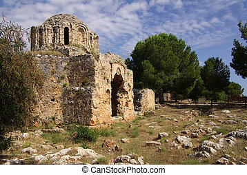 Castle in Alanya, Turkey - Ruins of a Byzantine church in...