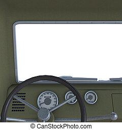 view of a cockpit of a pickup - a four wheel open pickup. 3D...