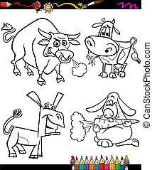farm animals set cartoon coloring book - Coloring Book or...