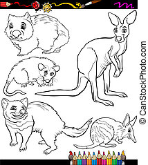 animals set cartoon coloring book - Coloring Book or Page...