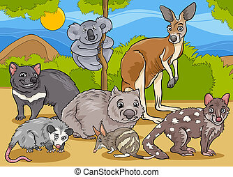 marsupials animals cartoon illustration - Cartoon...