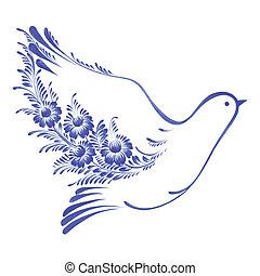 floral decorative ornament dove peace - hand drawn...