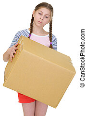 Teeneger girl hold cardboard box on the white