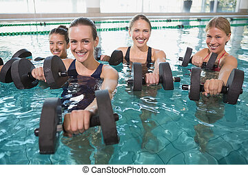 微笑, 女性, 健身, 類別, 液體, 有氧運動,...