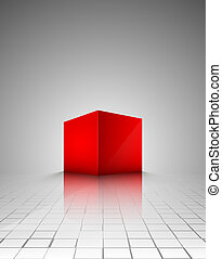 red cube abstract vector illustration isolated eps 10