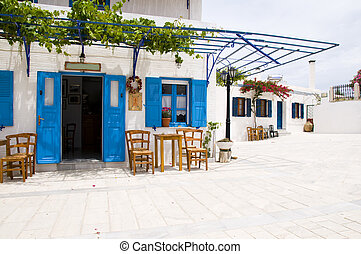 outdoor cafe greek architecture lefkes paros cyclads greece...