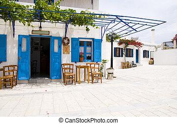 戶外, 咖啡館, 希臘語, 建築學, lefkes, Paros,...