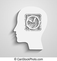 Clock head - Human Head with a clock icon