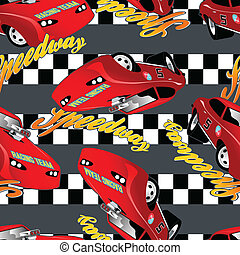 Speedway racing seamless pattern with checkered stripe