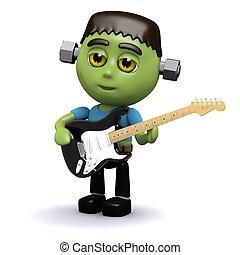 Frankenstein, guitarra, juegos, eléctrico,  3D