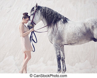 美麗, 馬, 婦女, 年輕, 擁抱