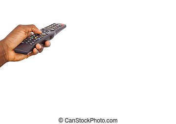 Mans hand holding remote control on white background