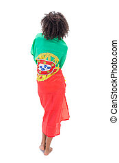 Girl wrapped up in portugal flag on white background