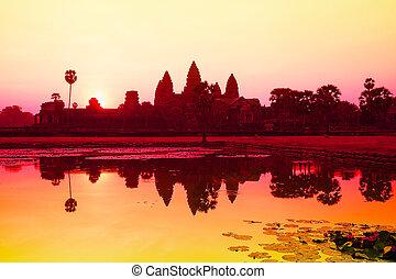 angkor, wat, salida del sol, Siem, cosechar, camboya