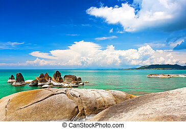 Beautiful stones on Lamai beach, Koh Samui, Thailand