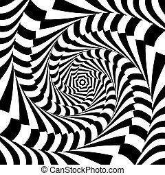 Design monochrome whirl movement illusion background....