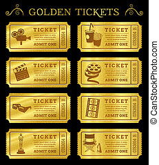 Golden Vector Cinema Tickets - Set of eight golden vector...